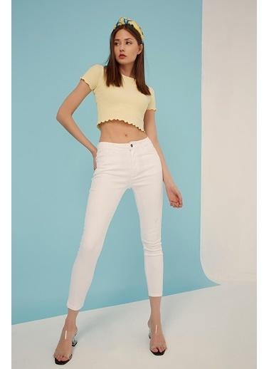 Modaset Yüksek Bel Skinny Fit Jean Pantolon Beyaz Beyaz